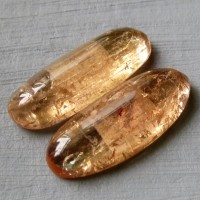 Topaz Imperial cabochon-pair