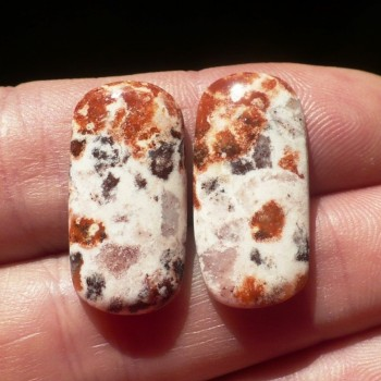 Spotted opal, Ukraine, cabochon, pair No.4