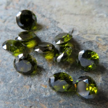 Cubic zirconia olive green, 6 mm - 1pc